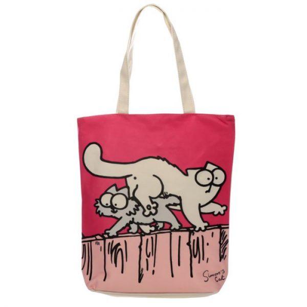 New Pink Simon's Cat znovupoužiteľný bavlnená taška 1 - pre milovníkov mačiek