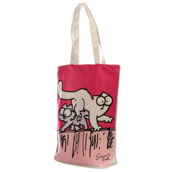 New Pink Simon's Cat znovupoužiteľný bavlnená taška 2 - pre milovníkov mačiek