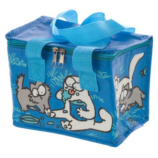 Chladiaca taška na desiatu s motívom mačičky a mačiatka Simon's Cat modrá 1 - pre milovníkov mačiek