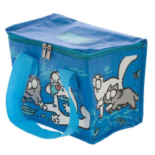 Chladiaca taška na desiatu s motívom mačičky a mačiatka Simon's Cat modrá 2 - pre milovníkov mačiek
