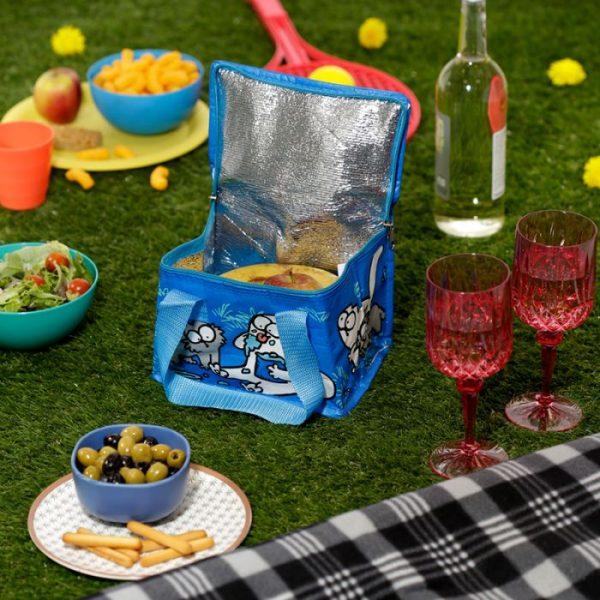 Chladiaca taška na desiatu s motívom mačičky a mačiatka Simon's Cat modrá 6 - pre milovníkov mačiek