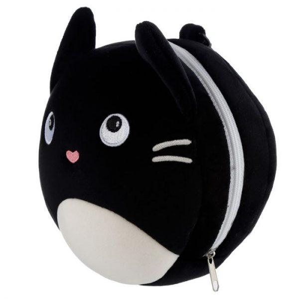 Relaxeazzz Mačka Feline Fine Okrúhly plyšový cestovný vankúš a maska na oči 5 - pre milovníkov mačiek