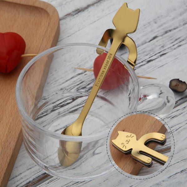 Metal spoon with a cat - blue 4 - pre milovníkov mačiek