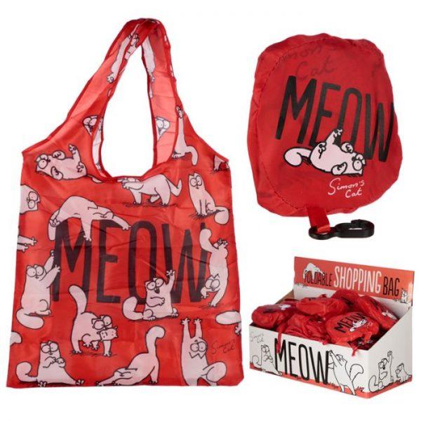 Skladacia Nákupná taška - Simon's Cat MEOW Design 1 - pre milovníkov mačiek