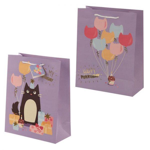Happy Purrthday Feline Fine Darčeková taška s mačkou - veľká 1 - pre milovníkov mačiek