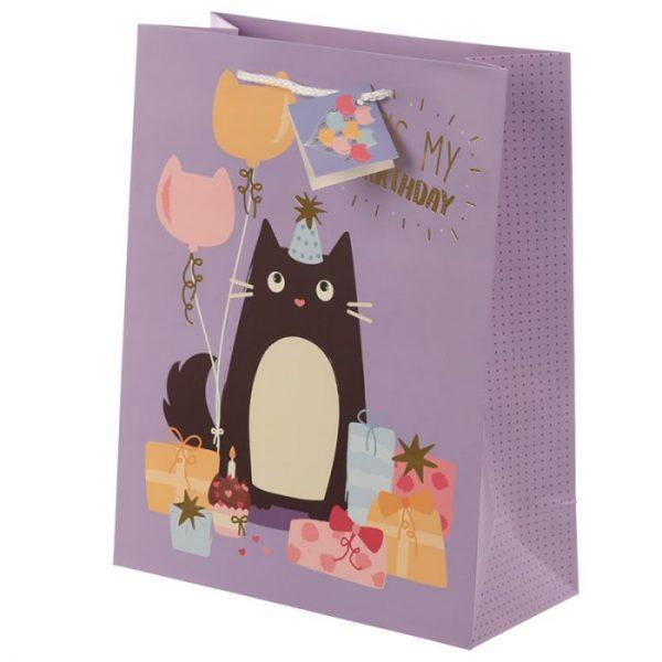 Happy Purrthday Feline Fine Darčeková taška s mačkou - veľká 2 - pre milovníkov mačiek