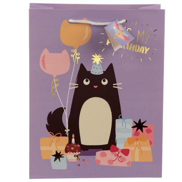 Happy Purrthday Feline Fine Darčeková taška s mačkou - veľká 3 - pre milovníkov mačiek