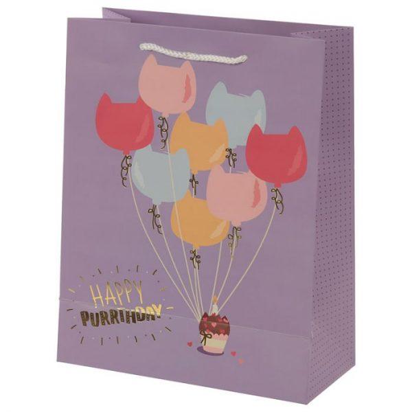 Happy Purrthday Feline Fine Darčeková taška s mačkou - veľká 4 - pre milovníkov mačiek