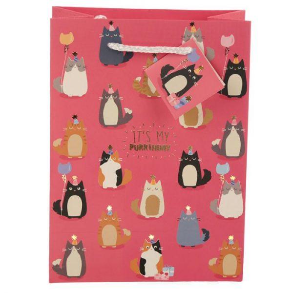 Happy Purrthday Feline Fine Darčeková taška s mačkou - stredná 3 - pre milovníkov mačiek
