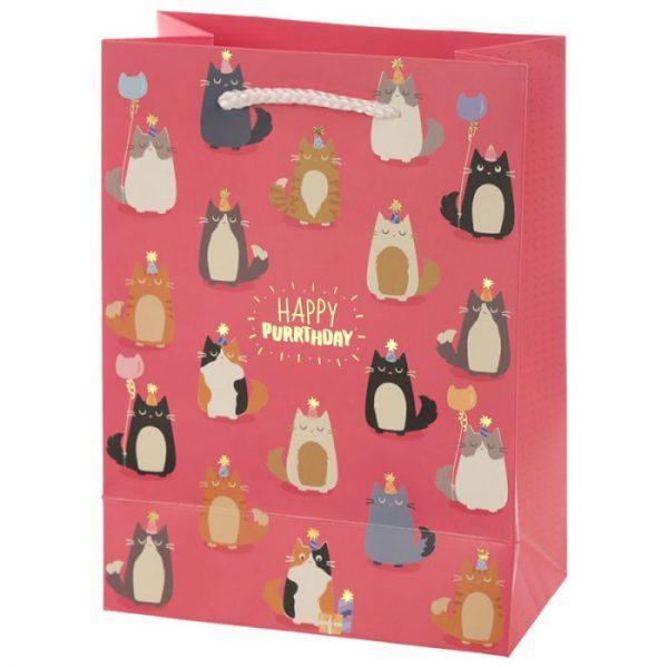 Happy Purrthday Feline Fine Darčeková taška s mačkou - stredná 2 - pre milovníkov mačiek