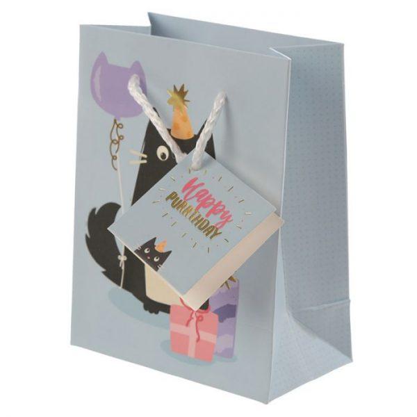 Happy Purrthday Feline Fine Darčeková taška s mačkou - malá 4 - pre milovníkov mačiek