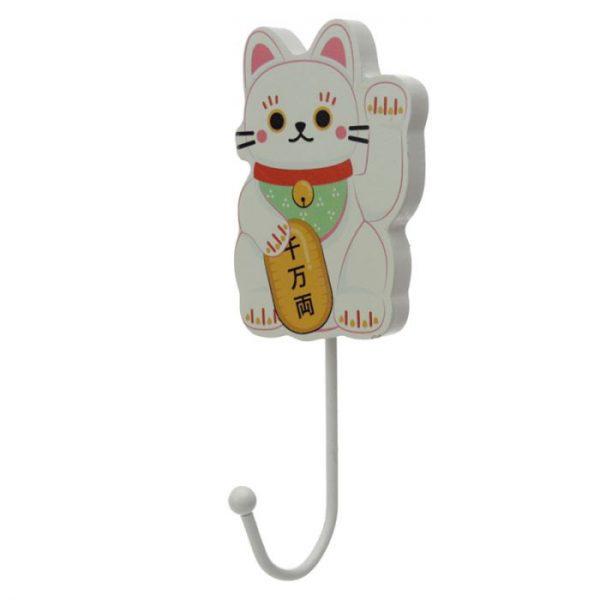Drevený háčik Maneki Neko - mačka šťastie 1 - pre milovníkov mačiek
