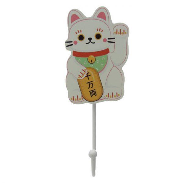 Drevený háčik Maneki Neko - mačka šťastie 4 - pre milovníkov mačiek