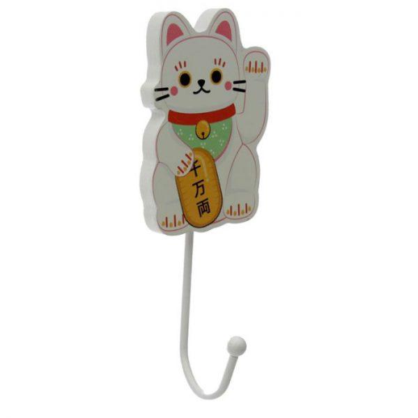Drevený háčik Maneki Neko - mačka šťastie 2 - pre milovníkov mačiek
