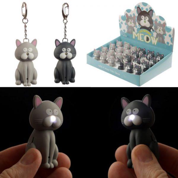 Mačacia LED mňaukajúca kľúčenka 1 - pre milovníkov mačiek