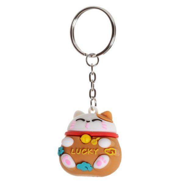 Maneki Neko - mačka šťastie 3D PVC Kľúčenka 2 - pre milovníkov mačiek