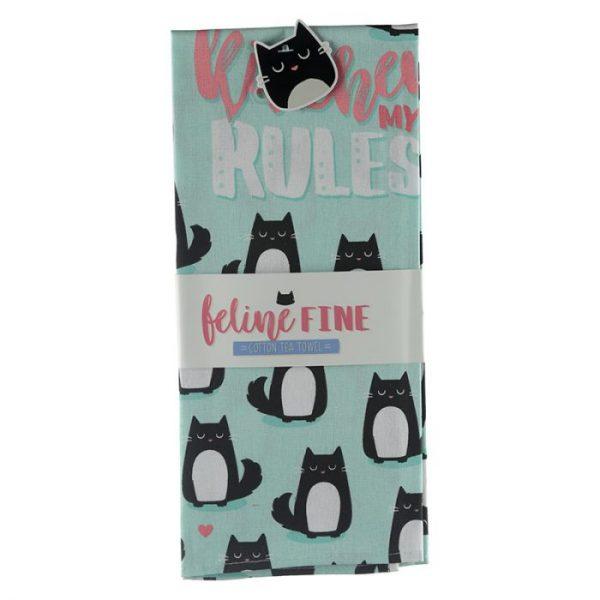 Uterák polobavlnený - Cat Feline Fine My Kitchen My Rules 2 - pre milovníkov mačiek