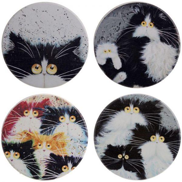Kim Haskins Mačky Set 4 tácok 1 - pre milovníkov mačiek