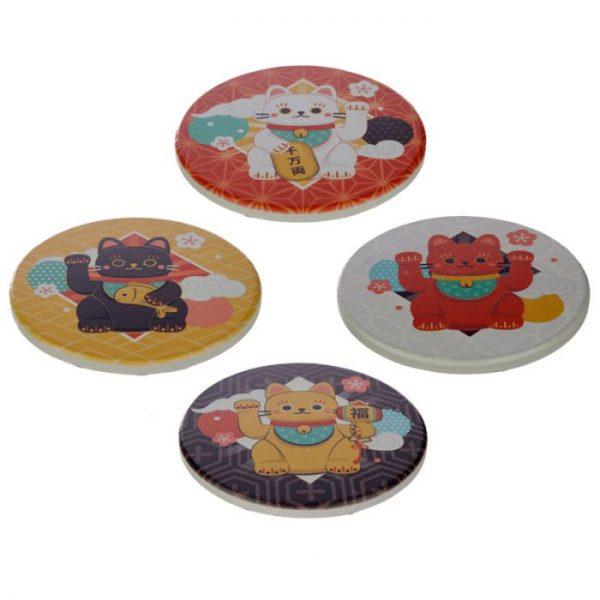 Set 4 tácok Maneki Neko - mačka šťastie 1 - pre milovníkov mačiek