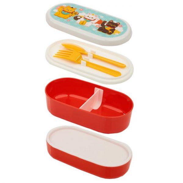 Dvojposchodová krabička na obed s vidličkou a lyžicou s motívom mačičiek pre šťastie Maneki Neko 7 - pre milovníkov mačiek