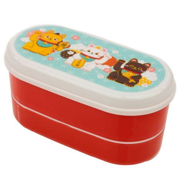 Dvojposchodová krabička na obed s vidličkou a lyžicou s motívom mačičiek pre šťastie Maneki Neko 6 - pre milovníkov mačiek