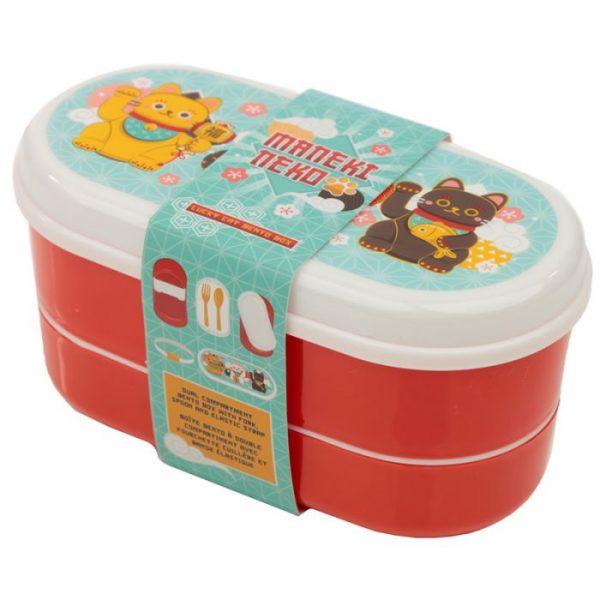Dvojposchodová krabička na obed s vidličkou a lyžicou s motívom mačičiek pre šťastie Maneki Neko 9 - pre milovníkov mačiek