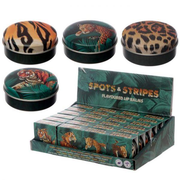 Spots & Stripes Big Cat Animal Print Balzam na pery v plechovke - vanilka 2 - pre milovníkov mačiek
