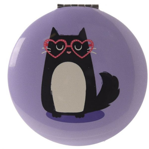 Feline Fine Cat Kompaktné zrkadielko - bledofialové 1 - pre milovníkov mačiek