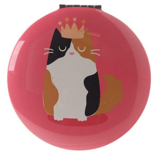 Feline Fine Cat Kompaktné zrkadielko - ružové 1 - pre milovníkov mačiek