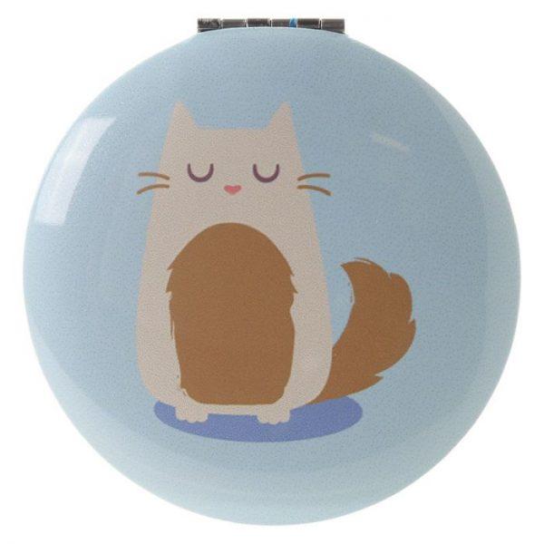 Feline Fine Cat Kompaktné zrkadielko - bledomodré 1 - pre milovníkov mačiek