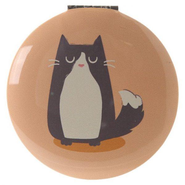 Feline Fine Cat Kompaktné zrkadielko - žlté 1 - pre milovníkov mačiek