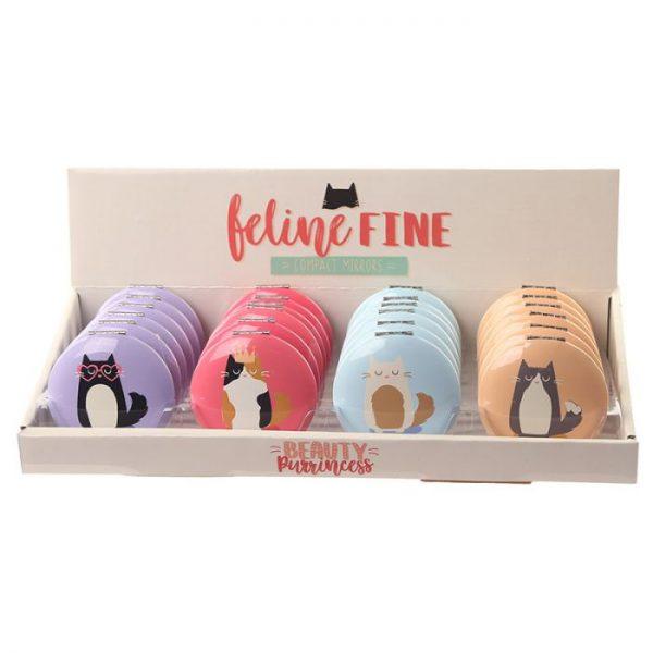 Feline Fine Cat Kompaktné zrkadielko - žlté 3 - pre milovníkov mačiek