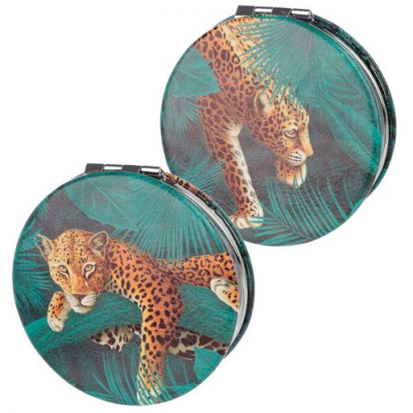 Spots & Stripes Big Cat Koženkové kompaktné zrkadlo Big Cat - škvrny 2 - pre milovníkov mačiek
