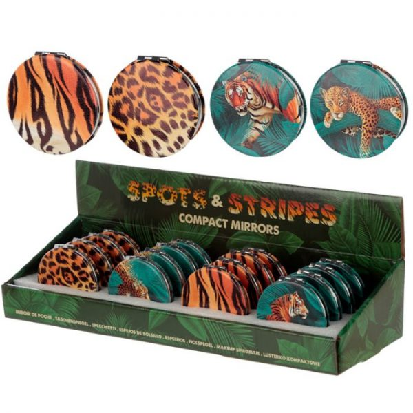 Spots & Stripes Big Cat Koženkové kompaktné zrkadlo Big Cat - škvrny 3 - pre milovníkov mačiek