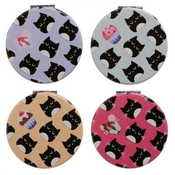 Feline Fine Cat Koženkové kompaktné zrkadlo - fialové 4 - pre milovníkov mačiek