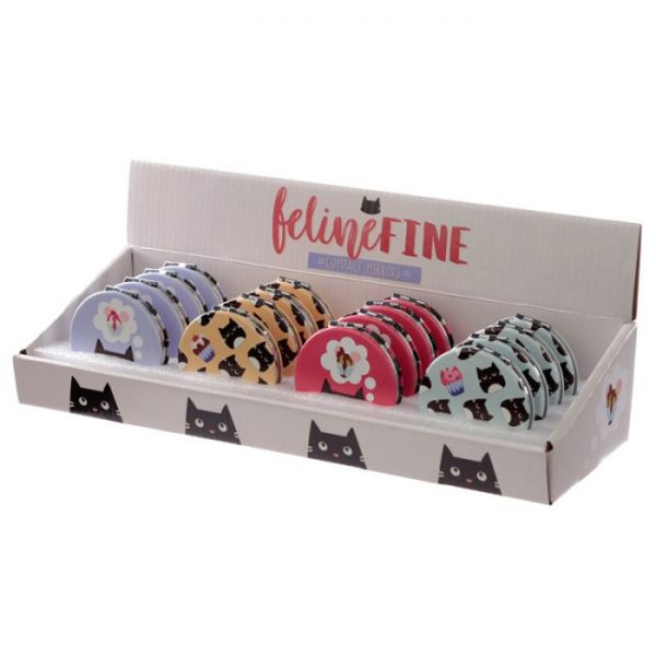 Feline Fine Cat Koženkové kompaktné zrkadlo - fialové 3 - pre milovníkov mačiek