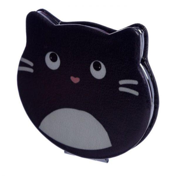 Feline Fine Koženkové kompaktné zrkadlo v tvare mačky - čierne 1 - pre milovníkov mačiek