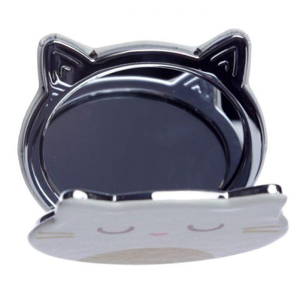 Feline Fine Koženkové kompaktné zrkadlo v tvare mačky - čierne 3 - pre milovníkov mačiek