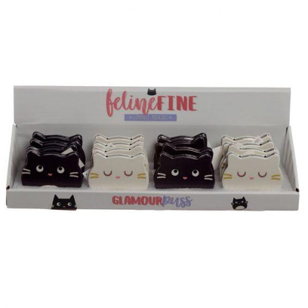 Feline Fine Koženkové kompaktné zrkadlo v tvare mačky - čierne 2 - pre milovníkov mačiek
