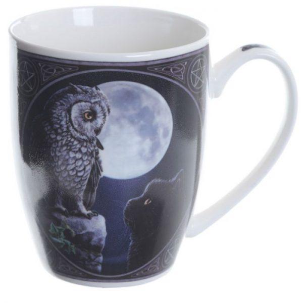 Lisa Parker Purrfect Wisdom Mačka a sova Porcelánový hrnček 4 - pre milovníkov mačiek