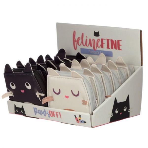 Mini päťdielny manikúrový set v púzdre s motívom mačičky Feline Fine 4 - pre milovníkov mačiek