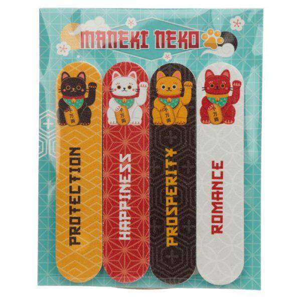 Maneki Neko - mačka šťastia Set 4 pilníkov na nechty 1 - pre milovníkov mačiek