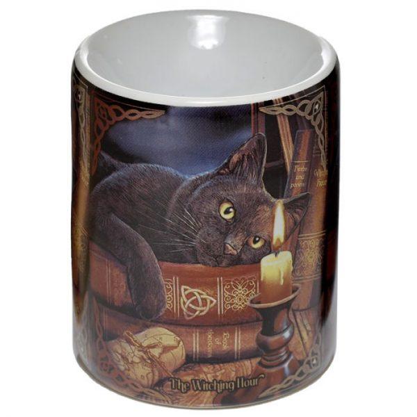 Lisa Parker keramická aromalampa s mačkou a knihami 1 - pre milovníkov mačiek