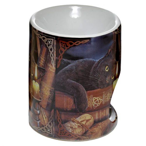 Lisa Parker keramická aromalampa s mačkou a knihami 3 - pre milovníkov mačiek