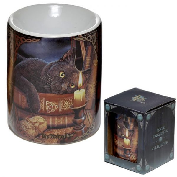 Lisa Parker keramická aromalampa s mačkou a knihami 2 - pre milovníkov mačiek