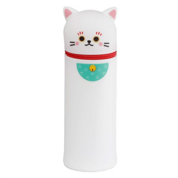 Silikonový peračník mačička pre šťastie Maneki Neko -biely 1 - pre milovníkov mačiek