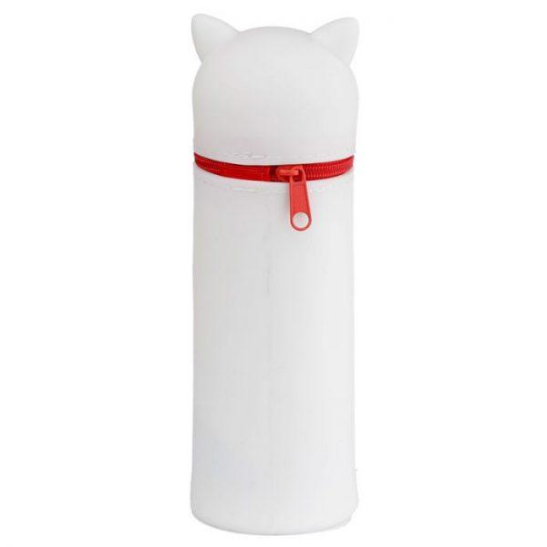 Silikonový peračník mačička pre šťastie Maneki Neko -biely 2 - pre milovníkov mačiek