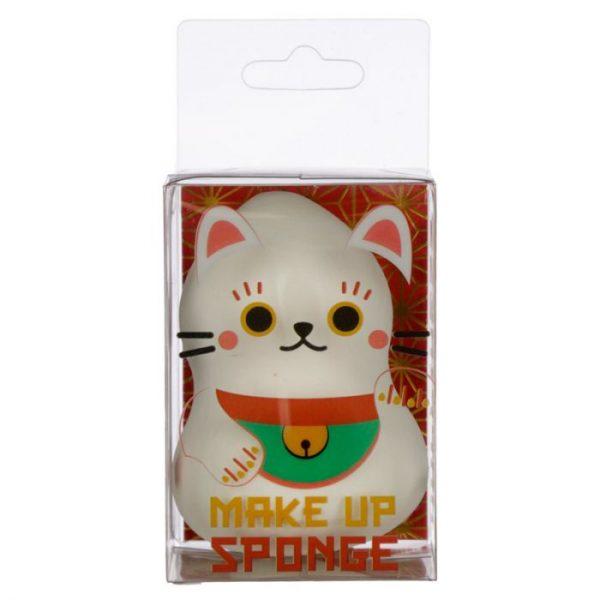 Tvarovaná hubka na make-up s mačičkou pre šťastie Maneki Neko biela (beautyblender) 1 - pre milovníkov mačiek