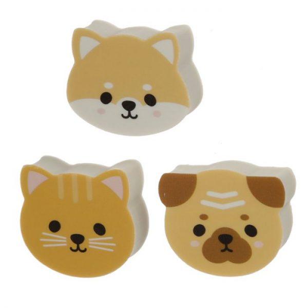 Set 3 gúm s motívom Mopslíka, mačičky a Shiba Inu 3 - pre milovníkov mačiek