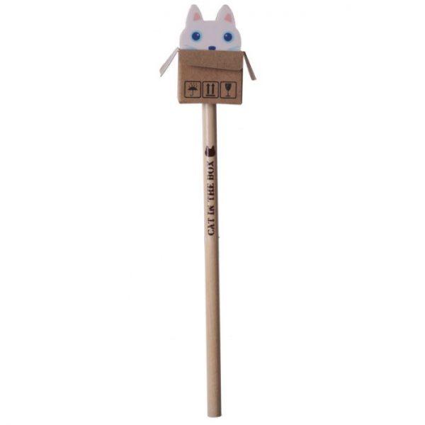 Mačka v krabici - ceruzka s gumou 4 - pre milovníkov mačiek